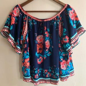 NWT Flying Tomato Off-Shoulder Floral Blouse